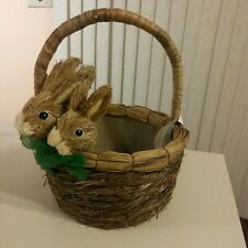 Cute Straw Grass  Easter Bunny Basket NEW!