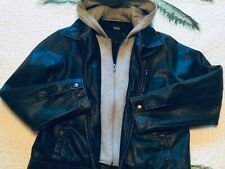 Pre owned Guess leather jacket mens SZ M w/ zip out waffle hoodie - mid weight