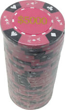 Poker Chips (25) $5,000 Tri-Gold 14 g Clay Composite FREE SHIPPING *