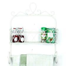 Kitchen Storage Towel Rail Shabby Chic Cream Wall Mounted Shelf Rack Holder