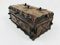 Vintage Wooden Jewellery Trinket Box Large Cast Iron Handmade Beautiful !