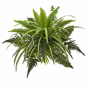 """Mixed Greens And Fern Artificial Bush Plant Decor Nearly Natural 22"""" Set Of 3"""