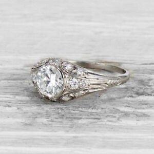 1.1 Ct Art Deco Antique Victorian Edwardian Vintage Engagement Ring 925 Silver