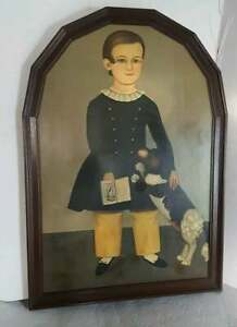 Vintage Ethan Allen Art Reproduction of Young Boy With Dog by Samuel Miller 1850