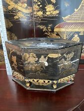 Antique Chinese Lacquer Offering Box Gilt  Decoration