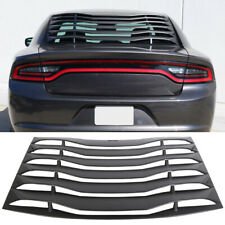 Rear Window Louver Cover Vent Ikon Style Fits 2011-2020 Charger Unpainted Black