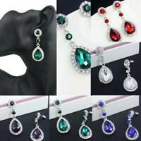 Elegant Women Vintage Drop Dangle Crystal Rhinestone Ear Studs Earrings Jewelry