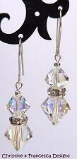 Sterling Silver CRYSTAL AB Rondelle Drop Hook Earrings with SWAROVSKI ELEMENTS