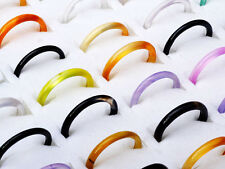Wholesale Lots Jewelry 50Pcs Colourful Natural Faceted Agate Gemstone Rings FREE