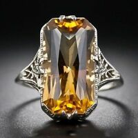 Natural Citrine 925 Sterling Silver Gemstone Jewelry Gemstone Wedding Ring Gift