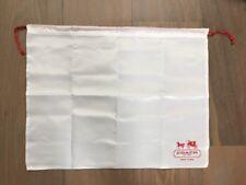 "Coach White Satin Red Drawstring Dust Cover Storage Bag Dustbag 19.5"" X 14.5"""
