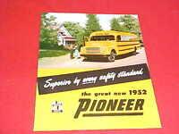 1952 SUPERIOR COACH PIONEER SCHOOL BUS ORIGINAL DEALER SALE BROCHURE PROSPEKT 52