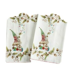 NWT! Pottery Barn Christmas Forest Gnome Guest Towels 2-Count