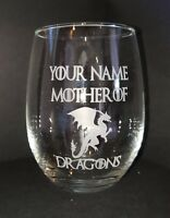 Personalized Game of Thrones stemless wine glass -Mother of Dragons