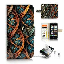 ( For iPhone SE / 5S ) Wallet Case Cover P6280 Abstract Design