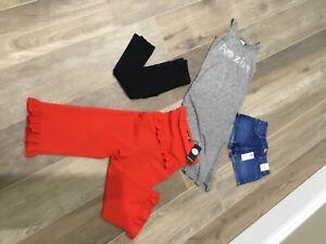GIRLS BNWT BOOHOO RED JUMPSUIT / RIVER ISLAND DENIM SHORTS DRESS  AGE 5 - 6YRS