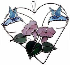Stain Glass Double Hummingbirds on Heart Ring