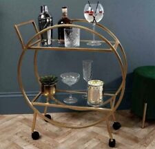Large Drinks Trolley Road Art Deco Style In Gold Brand New & Boxed Cocktail Bar