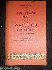 Mapa fieldpath para el distrito Watford - 1914-disecado Papel/Paño-Essex Mapa