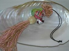 Ball w Fabric Covered & Wood Bead Lanyard Unique Pink & Tan Paper Tassels & Puff
