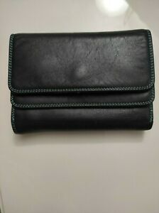 MYWALIT Black Pace Leather Double Flap Wallet