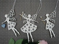 Hanging decoration vintage style fairy shabby chic wood white pretty quirky