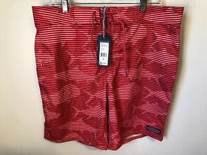 VINEYARD VINES Grand Slam Striped Board Shorts JETTY RED 34 NWT Trunks NWT Swim