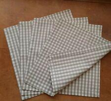 4 Cotton Dinner Napkins Gray White Plaid Classic Style 35х35cm Set of 4