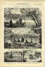 1875 Royal Fishing Party At Virginia Water Titness House Velocipede Canoe