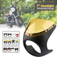 "Universal Cafe Racer Handlebar 7"" Headlight Windshield Fairing Screen For Harley"