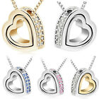 Unique Silver Plated Crystal Heart to Heart Pendant Necklace Jewelry Love Gift