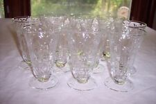 Set of 10 Cut Floral Footed Juice Glasses