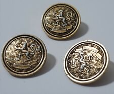 3 x Vintage Rare Glass Gold Detailed Dragon Design Shank Button 15mm FREE POST