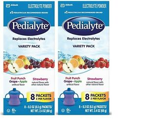 Pedialyte Oral Electrolyte Powder Variety Pack 0.3oz Packets 8 Count (Pack of 2)