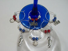 Cute Set of 6 Patriotic/4th of July Wine Charms