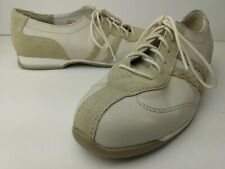 Woman's Oxford Sneaker Active fashion Sz 8.5 Leather With Suede Trim White Beige