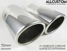 EMBOUTS CHROME SORTIE ECHAPPEMENTS pour VW SCIROCCO 08-15 R20 TSI TFSI TDI 70mm