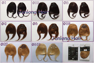 3Clips Bangs Virgin Remy Clip In 100%Real Human Hair Extensions Bangs Front Side