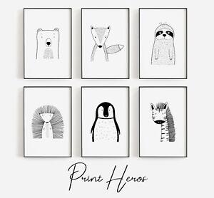 Scandinavian Animal Baby Nursery Prints Set Childrens Bedroom Wall Art Pictures