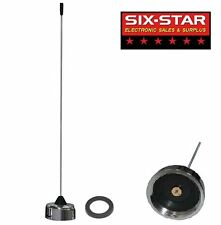 VHF 2 METER 144-152 MHz NMO 1/4 WAVE MOBILE WHIP ANTENNA PRE-TUNED CHROME BASE