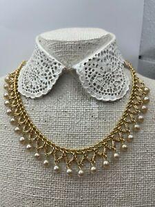 "Vintage Goldtone & Faux Pearl Choker 15-17"" Necklace"
