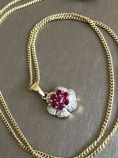 """9ct Yellow Gold Diamond Ruby Necklace Flower Pendant 18"""" Chain"""