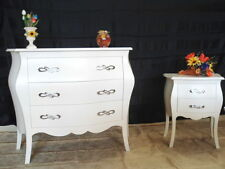 Commode bombé blanc + 2 tables de chevet convexe blanches bois massif poignées
