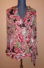 Sunny Leigh Woman Mixed Prints Wrap Crinkle Ruffled Top Size 0X