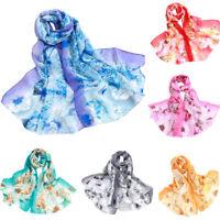 Fashion Women Floral Print Long Chiffon Neck Scarf Scarves Wrap Soft Stole Shawl