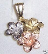 Hawaiian Triple Plumeria Flower Pendent 14K Gold Hawaii Jewelry