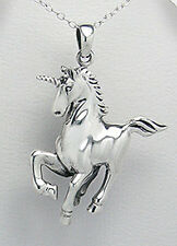"6.23g Sweet Solid Sterling Silver Magical UNICORN PEGASUS Horse Pendant 1.8"" BIG"