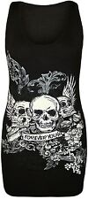 New Womens Sequin Skull Racer Back Tunic Jeresy Vest Tops 8-14
