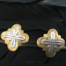 Cross Jeep Collins Earrings 7/8� X7/8� Estate Sterling Silver Brass Hand Made