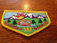 MINT OA Flap 75th Anniversary Lodge 383 Tahosa Yellow Border